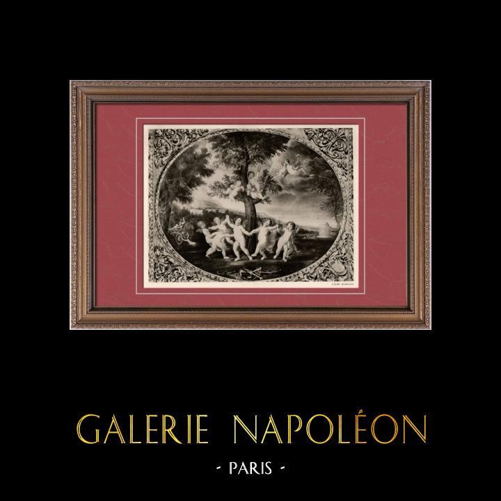 Antique Prints & Drawings | Roman Mythology - Angels - Dance of the Cupids (Francesco Albani) | Heliogravure | 1910
