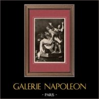 Jesu Christi - Die Grablegung (Caravaggio) | Original heliogravüre auf velinpapier nach Caravaggio. Anonyme. 1910
