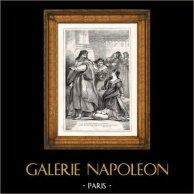 Leontes et Pauline - Le Conte d'Hiver (Shakespeare) | Gravure sur bois originale gravée par Pearson. 1870