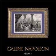 Le Pape Jules II et le Peintre Italien Raphaël Sanzio | Gravure sur acier originale dessinée par Rouargue, gravée par Rebel. 1838