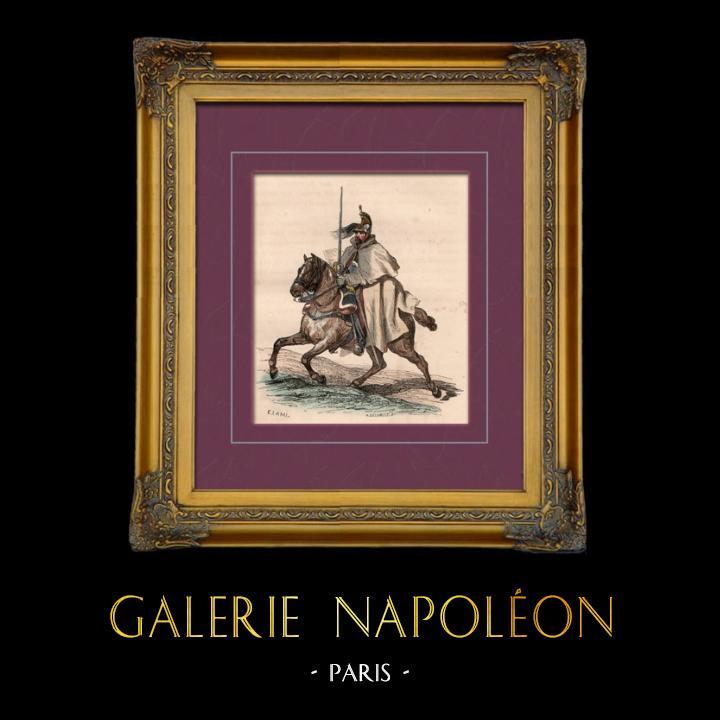 Gravures Anciennes & Dessins | Uniforme Militaire - Costume - Guerres Napoléoniennes - Cavalerie - Cavalier Cuirassier en 1809 | Taille-douce | 1842