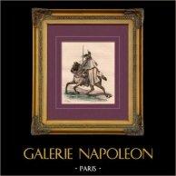 Uniforme Militare - Costume - Napoleone - Guerre Napoleoniche - Cavalleria - Corazziere in 1809 | Incisione su acciaio originale disegnata da E. Lami, incisa da A. Delangle. Acquerellata a mano d'epoca. 1842