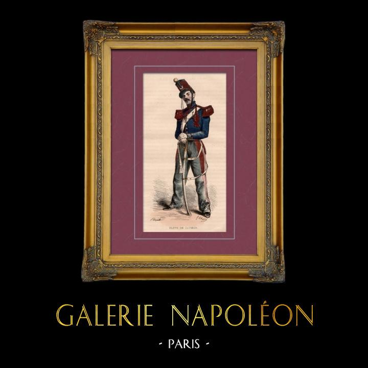 Gravures Anciennes & Dessins | Uniforme Militaire - Costume - Napoléon - Cavalerie - Elève de l'Ecole Militaire de Saumur | Taille-douce | 1842