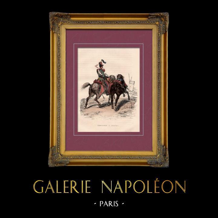 Gravures Anciennes & Dessins | Uniforme Militaire - Costume - Guerres Napoléoniennes - Cavalerie Légère - Chasseur à Cheval | Taille-douce | 1842