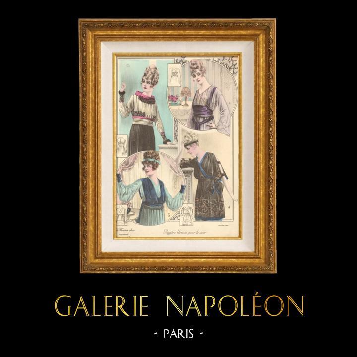 Gravures Anciennes & Dessins | Gravure de Mode - Femme Française - Parisienne - France - Quatres Blouses pour le Soir | Gravure | 1890