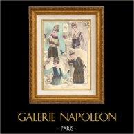Grabado de Moda Francesa - Parisiense - Parisina - Francia - Blusa - Quatres Blouses pour le Soir | Grabado de moda . Coloreado a mano de epoca. Anónimo. 1890