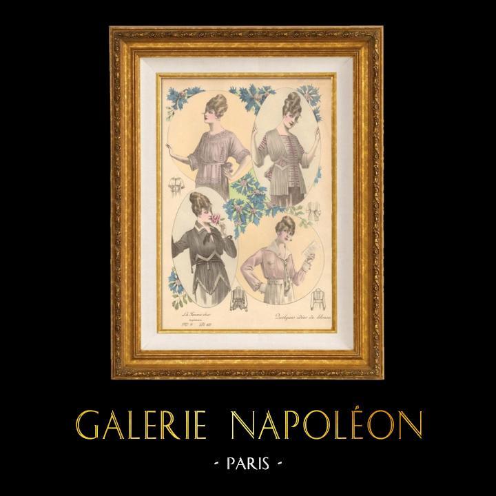 Gravures Anciennes & Dessins | Gravure de Mode - Femme Française - Parisienne - France - Quelques Idées de Blouses | Gravure | 1890