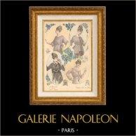 Grabado de Moda Francesa - Parisiense - Parisina - Francia - Blusa - Quelques Idées de Blouses | Grabado de moda . Coloreado a mano de epoca. Anónimo. 1890