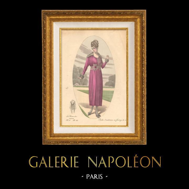 Antique Prints & Drawings | Fashion Plate - French Mode - Parisian Woman - Paris - France - Silk - Dress for the Autumn | Engraving | 1880