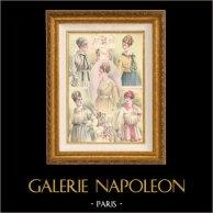 Grabado de Moda Francesa - Parisiense - Parisina - Francia - Corpiño - Corsé | Grabado de moda . Coloreado a mano de epoca. Anónimo. 1890