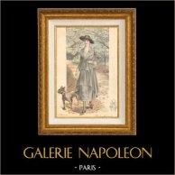 Stampa di Moda Francese - Parigina - Francia - Un Joli Modèle Vu au Bois | Stampa di moda. Colorata a mano d'epoca. Anonima. 1890
