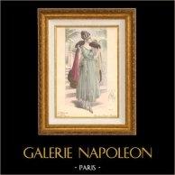 Grabado de Moda Francesa - Parisiense - Parisina - Francia - Traje de Noche - Traje Largo - Creation Georgette