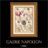 Fashion Plate - French Mode - Parisian Woman - Paris - France - Blouse - Cinq Blouses Nouvelles - Creations Beer & Creations Fairyland | Fashion plate. Original hand-colored. Anonymous. 1890