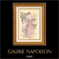 Gravure de Mode - Femme Française - Parisienne - France - Robe Rose | Gravure de mode. Colorée à la main (coloris d'époque). Anonyme. 1890
