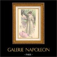 Stampa di Moda Francese - Parigina - Francia - Seta - Abito per l'Estate | Stampa di moda. Colorata a mano d'epoca. Anonima. 1890