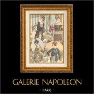 Gravure de Mode - Femme Française - Parisienne - France - Blouses du Soir et du Jour   Gravure de mode. Colorée à la main (coloris d'époque). Anonyme. 1890