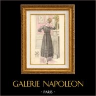 Fashion Plate - French Mode - Parisian Woman - Paris - France - Simple Black Dress - Creation Georgette | Fashion plate. Original hand-colored. Anonymous. 1890