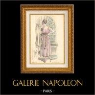 Grabado de Moda Francesa - Parisiense - Parisina - Francia - Traje de Noche - Traje Largo - Creation Georgette - Jolie Robe du Soir
