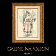 Gravure de Mode - Femme Française - Parisienne - France - Ensemble Léger pour l'été