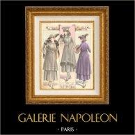 Gravure de Mode - Femme Française - Parisienne - France - Manteau de Fourrure