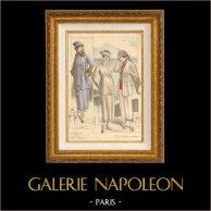 Gravure de Mode - Femme Française - Parisienne - France - Trois Tailleurs Pratiques | Gravure de mode. Colorée à la main (coloris d'époque). Anonyme. 1890