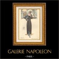 Fransk Mode - Parisiska - Frankrike - Eftermiddag Klänning - Creation Georgette - Robe Simple pour l'Après-Midi | Modeplansch (modeteckning). Original handkolorerad. Anonymt. 1890