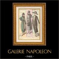 Gravure de Mode - Femme Française - Parisienne - France - Trois Tailleurs Bien Différents