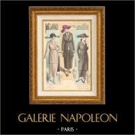 Gravure de Mode - Femme Française - Parisienne - France - Tailleurs Simples - Juliette Courtisien | Gravure de mode. Colorée à la main (coloris d'époque). Anonyme. 1890