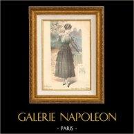 Gravure de Mode - Femme Française - Parisienne - France - Robe - Sobre Elégance - Création Drecoll