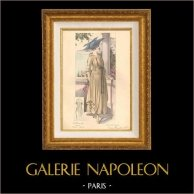 Gravure de Mode - Femme Française - Parisienne - France - Robe - A la Côte d'Azur - Création Georgette | Gravure de mode. Colorée à la main (coloris d'époque). Anonyme. 1890