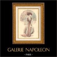 Fashion Plate - French Mode - Parisian Woman - Paris - France - Evening Dress - Le Salon de la Mode   Fashion plate drawn by A. Souchel. Original hand-colored. 1910