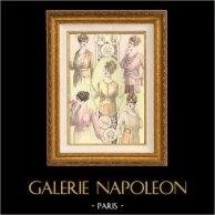 Gravure de Mode - Femme Française - Parisienne - France - Cinq Jolies Créations du Royal Quartier | Gravure de mode. Colorée à la main (coloris d'époque). Anonyme. 1890