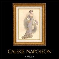 Gravure de Mode - Femme Française - Parisienne - France - Robe du Soir - Création A. E. Lelong