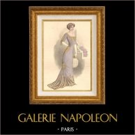 Fashion Plate - French Mode - Parisian Woman - Paris - France - Evening Dress - Creation A. E. Lelong | Fashion plate. Original hand-colored. Anonymous. 1910