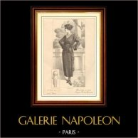 Fransk Modeplansch - Modeteckning - Parisiska - Pour Trotter le Matin - Creation Berthe Hermance   Modeplansch (modeteckning). Anonymt. 1900