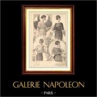 Fransk Modeplansch - Modeteckning - Parisiska - Frankrike - Blus - Quelques Jolies Blouses   Modeplansch (modeteckning). Anonymt. 1900