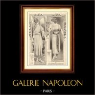 Gravure de Mode - Femme Française - Parisienne - France - Robe - Robe Elégante pour Jeune Fille en Mousseline de Soie Blanche