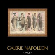 Fashion Plate - French Mode - Parisian Woman - Paris - France - Cinq Jolies Créations de Grands Couturiers - Ström - Bulloz - Deddy | Fashion plate. Anonymous. Original hand-colored. 1890