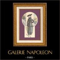 Gravure de Mode - Femme Française - Parisienne - France - Manteau - Pour le Printemps | Gravure de mode. Anonyme. Colorée à la main (coloris d'époque). 1890
