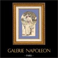 Gravure de Mode - Femme Française - Parisienne - France - Un Ensemble pour l'Eté