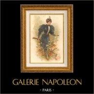 Grabado de Moda Francesa de Paris - Cacería - Caza   Original litografia color dibujado por SB. 1910