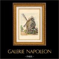 Le Moulin de la Galette - Montmartre - Paris - France | Gravure originale dessinée par Zaranno. 1910