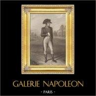 Portrait de Napoléon Bonaparte devant le Château de la Malmaison (1802) | Gravure sur acier originale dessinée par J. Isabey, gravée par Geoffroy. 1837