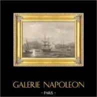 Napoleon som Lämnar den Elba ön för att gå Tillbaka till Frankrike (Februari 26, 1815) | Original stålstick efter teckningar av A. Sandoz, graverade av J. Outhwaite. 1837