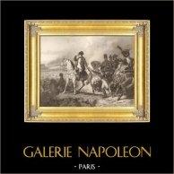 Guerre Napoleoniche - Austria - Napoleone sul suo Cavallo alla Battaglia di Wagram (1809) | Incisione su acciaio originale disegnata da E. Girardet secondo H. Vernet, incisa da P. Girardet. 1837