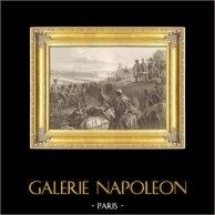 Napoleonische Kriege - Feldzug in Russland - Napoleon überquert die Fluss Memel (24. juni 1812) | Original stahlstich gezeichnet von K. Girardet, gestochen von P. Girardet. 1837