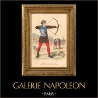 Historia av Fransk Mode - Dräkter av Paris - 1200-Talet - Bågskytt | Original stålstick efter teckningar av Ludovic, graverade av A. Renard. Handkolorerad. 1878