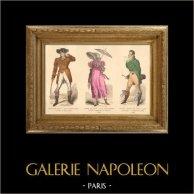 French Fashion History - Costumes of Paris - 19th Century - XIXth Century - Chapeau en Bateau - Capote de Percale - Sunshade - Culotte de Casimir (1810-1812) | Original steel engraving. Anonymous. Original hand-colored. 1878
