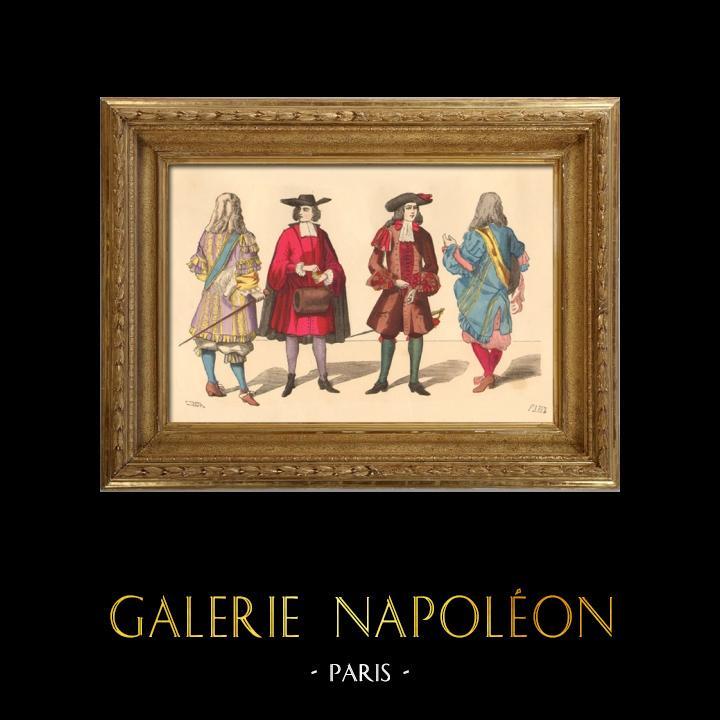Gravures Anciennes & Dessins   Histoire de la Mode Française - Costumes de Paris - 17ème Siècle - XVIIeme Siècle - Louis XIV - Seigneur - Petit Abbé - Officier - Riche Bourgeois   Taille-douce   1878