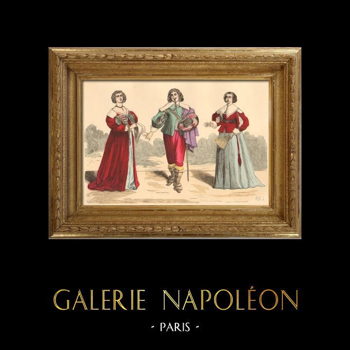 Gravures Anciennes & Dessins   Histoire de la Mode Française - Costumes de Paris - 17ème Siècle - XVIIeme Siècle - Louis XIII - Noblesse - Après l'Edit de Réforme de 1633   Taille-douce   1878